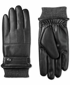 Isotoner Men's Winter Gloves Black Size Large L Faux-Leather SleekHeat $58 348