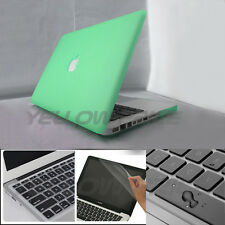 Green Hard Protective Case Shell + Clear Keyboard Cover for Macbook Pro 13inch
