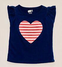 "Crazy 8 ""Stars + Stripes"" Sparkle Striped Heart Ss Navy Blue Top, 6-12 mos."
