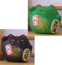 2x Maneki Neko Lucky cat black and green protection and study