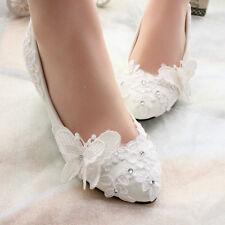 New Women Girls Wedding Shoes Pearls  Bridal Flats butterfly Low High Heels