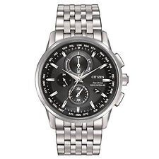 Brand New Citizen Eco-Drive AT8110-53E Mens World Chrono Atomic SS Black Watch
