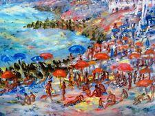 """SOURDILLON Berthe (1895-1976) """"La plage de St Laurent du Var (06) Huile s/ toile"""