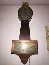 ANTIQUE GILBERT 1920'S CARVED MAHOGANY 8 DAY BANJO WALL CLOCK W/ EAGLE FINIAL