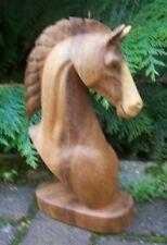 Toller 30 cm Holz Pferde-Kopf Büste Hengst Tier Handarbeit Rappen Bali Pferd02