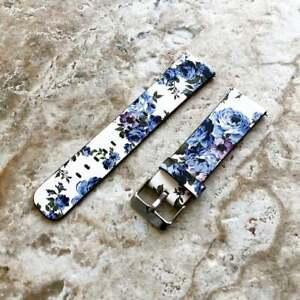 Blue Floral (FL-2) Leather Band Strap for Samsung Galaxy Watch 3 41mm Case - B20
