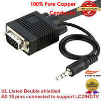 Premium VGA Monitor Cable with 3.5mm Stereo Audio 6ft 10ft 15ft 20ft 25ft 30ft