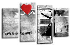 """BANKSY ART PICTURE RED GREY CANVAS GIRL WITH BALLOON WALL 4 PANEL 40 x 27"""""""