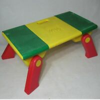 LEGO 1994 VINTAGE FOLD UP TABLE WITH STORAGE COMPARTMENTS  YELLOW RED GREEN