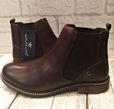MENS BROWN LEATHER SMART CHELSEA ANKLE BOOT ELASTIC GUSSET SLIP ON STYLE