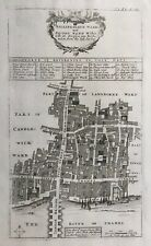 1720 Antique map: Billingsgate & Bridge Wards, London: Stow's Survey of London