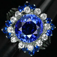FASCINATING RICH BLUE SAPPHIRE OVAL CUT 6.25 CT. STERLING 925 SILVER RING 7.75