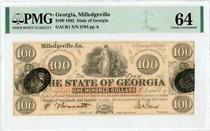 1862 Cr.1 $100 The State of GEORGIA Note - CIVIL WAR Era PMG Ch.CU 64