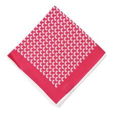 New $215 KITON Fuchsia Pink Crescent Print Silk Pocket Square