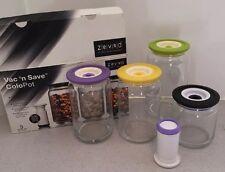 Zervo Vac 'n Save GLASS Food Storage Jars Set Of Four With Pump Vacuum Storage