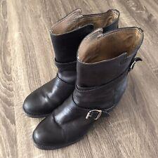 FRYE Women's Vera Strappy Leather Moto Boots (76520) Size 10B Black