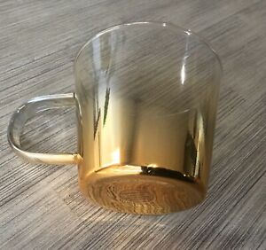 """NEW ANTHROPOLOGIE MERCURY GLASS SMALL 3"""" TEA COFFEE MUG CUP OMBRE GOLD WASH"""