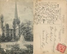 s07091 War Memorial, Darlington, Yorkshire, England postcard posted 1919 stamp