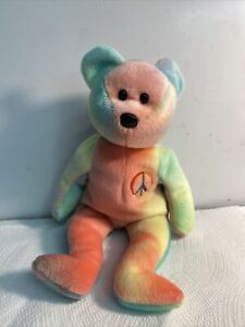 "Vintage Rare TY Beanie baby ""Peace"" rainbow plushie 1996"