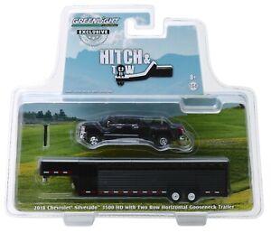 1:64 GreenLight *BLACK* 2018 Chevrolet Silverado Dually w/LIVESTOCK TRAILER NIP