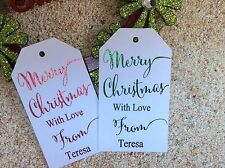10 Kraft White Gift Tags Merry Christmas Favour Personalised With Love Foiled