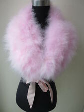 Women Fashion  Real Ostrich Feather Fur Cape  party Protect your shoulders PINK