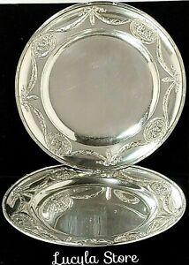 1896 Antique Bucholz & Zelt Germany 800 Silver 2 Plates Decor Angels Bow 294 g