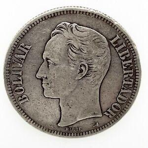 1900 - VENEZUELA 5 BOLIVARES (25 GRAM) .900 Silver Coin #2 Y#24.2.