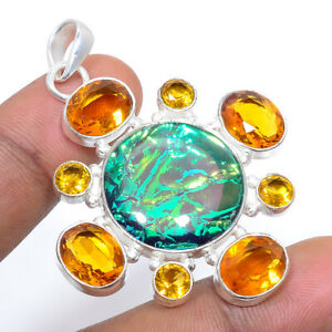 """Triplet Fire Opal & Citrine 925 Sterling Silver Pendant Jewelry 2.15"""" F251"""