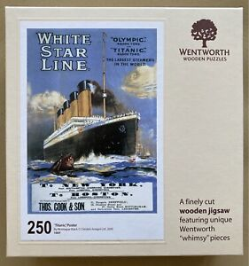 """WENTWORTH """"Titanic Poster"""" by Steve Read 250 piece Wooden JIGSAW PUZZLE Whimsy"""