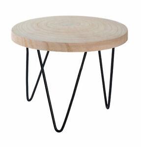 Holz Blumentopfständer - Tisch mit Baumscheibe - Blumen Hocker Pflanzenständer
