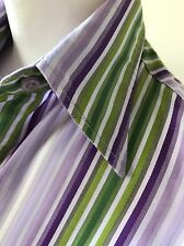 Lovely Ladies Lilac Green & White Striped Double Cuff Shirt  By T M Lewin Size 6