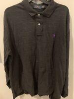 Ralph Lauren Heathered Charcoal Gray XXL Long Sleeve Polo Shirt 2XL XXL