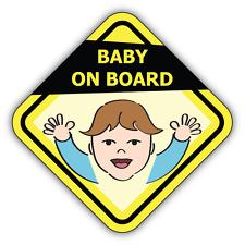 """Baby On Board Boy Funny Warning Sign Car Bumper Sticker Decal 5"""" x 5"""""""