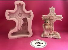 Cute Girl First Communion Cross silicone mold fondant cake decorating wax soap