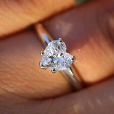 1 3/4 Ct Heart Shape Solitaire Engagement Wedding Promise Ring 18K White Gold Fn