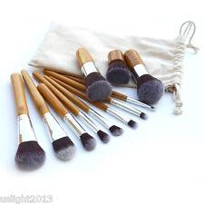 Fashion Pro Beauty 11Pcs Bamboo Handle Cosmetic Blush Makeup Brush Set