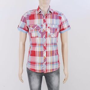 Next Mens Size S Red Blue Check Short Sleeve Shirt