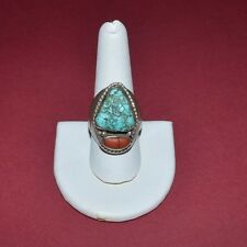 VINTAGE SOUTHWESTERN STERLING SILVER TURQUOISE AND CORAL RING SIZE 9