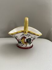 VINTAGE ROOSTER AND ROSES EARLY PROVINCIAL BASKET HAND PAINTED UNDERGLAZE JAPAN