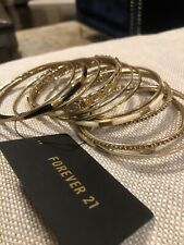 Forever 21 Thin Bangles Bracelets Gold Assorted 11 Pieces New