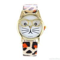 Cute Cat Glasses Face Watch Strap Wrist Quartz Womens Kids Animal Girls