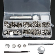 120PCS 15mm Heavy Duty Snap Fastener Popper Press Stud Button+3x Fixing Tool Kit