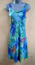 Batik Fit & Flare Bali Tank Top Sun Dress BLUE Green Leaves   L, XL, XXL