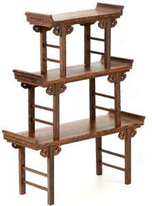 3 Pcs Chinese Wenge Wood Display Stand Shelf Table Bonsai Suiseki Stone Rack