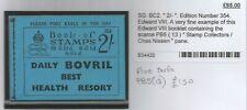 1936 King Edward Viii 2 Shillings Booklet Sg Bc2 Ed 354 Containing Pb5 (13) Vf