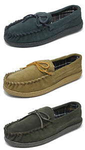 Mens Sleepers Real Suede Wide Fit Leather Moccasin Slippers BLUE BROWN 6-12