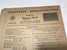 New Listing1958/59 Telefunken Hymus Hi-Fi Stereo Schematics Plus