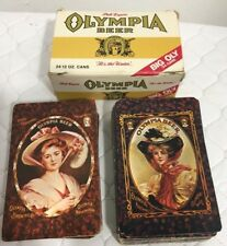 Vintage Set Of 2 Decks of Olympia Beer Victorian Ladies Playing Cards Iob
