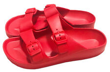 Womens Double Strap Buckle Slide Flip Flop Soft Sandal Beach Shower Red 5